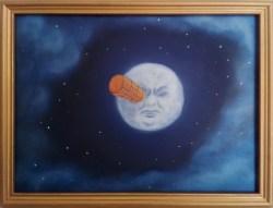"""""""Ouch!"""" di Marina Ravaioli - olio e tecnica mista su legno - 30x23cm incorniciato. La Luna come una faccia con il proiettile nell'occhio"""