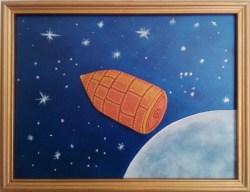 """""""Tonight, Tonight"""" di Marina Ravaioli - olio e tecnica mista su legno - 30x23cm incorniciato. Proiettile che se ne va dalla Luna con sottofondo di stelle"""