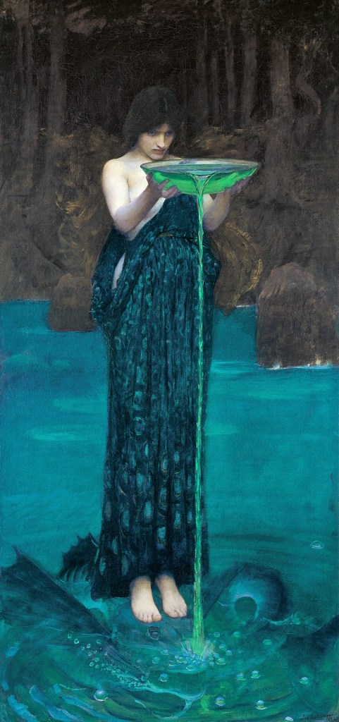 """Circe invidiosa"" di John William Waterhouse - La maga circe versa nelle acque una pozione verde brillante - ""Ulisse. L'Arte e il Mito"" a Forlì"