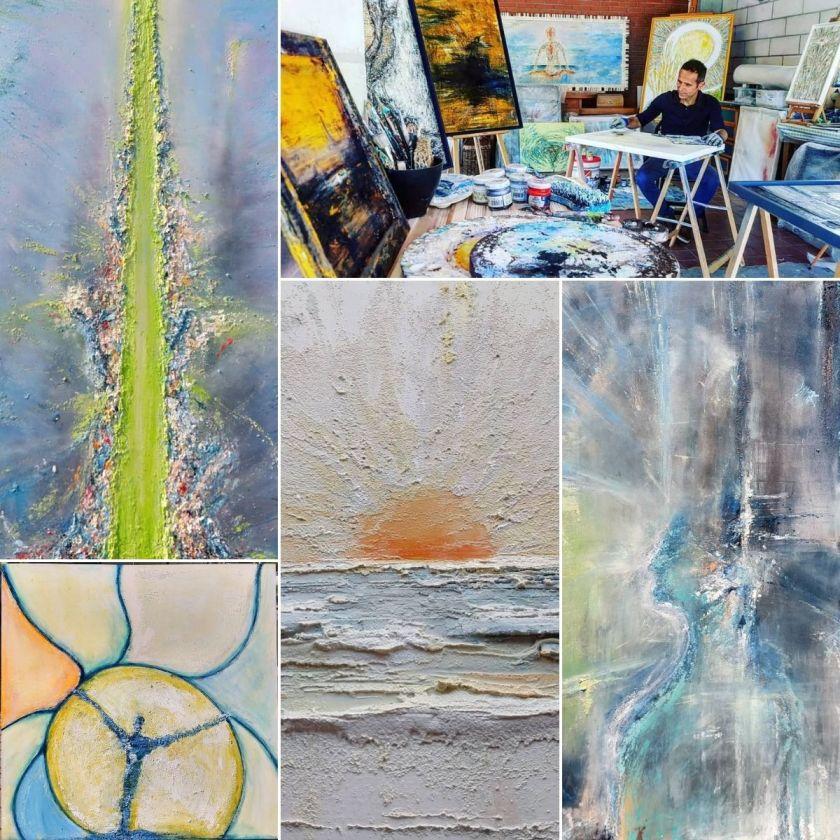 Paolo Graziani in studio e un mix di sue opere