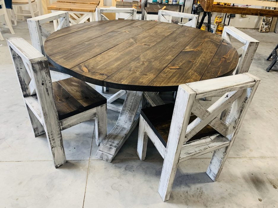 5ft round rustic farmhouse table with chairs single
