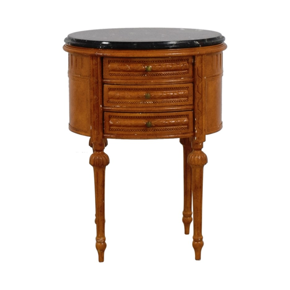 77 off antique oval marble top side table tables