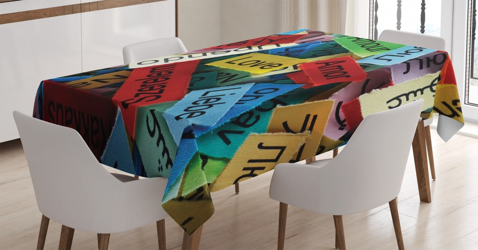 ambesonne love tablecloth love word cloud design in different languages french japanese all common artwork rectangular table cover for dining room