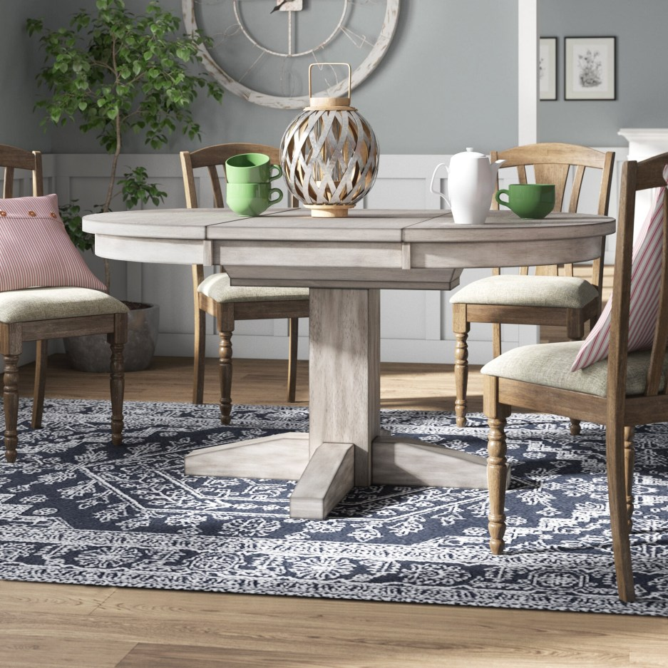 august grove kensworth extendable pedestal dining table