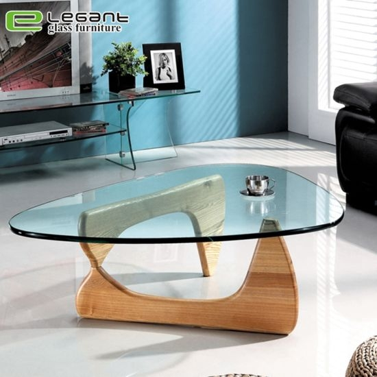 china fashion triangle glass coffee table with ashtree base