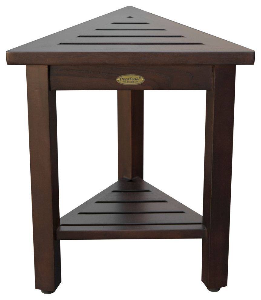 flexicorner triangular teak modular stool table with shelf brown