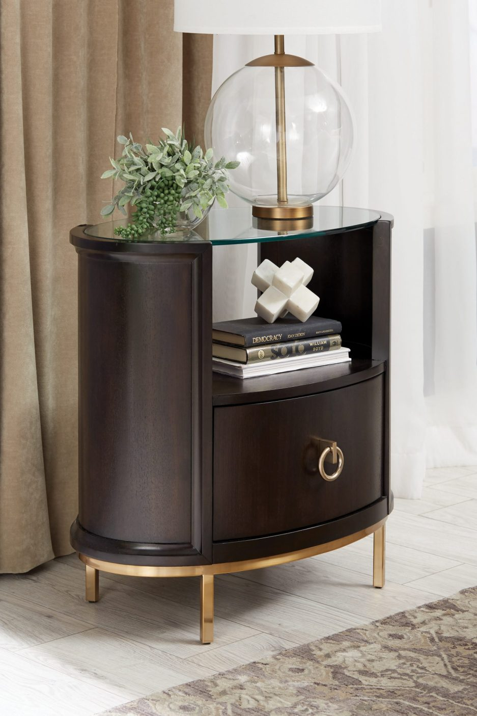 formosa 1 drawer oval nightstand americano and rose brass