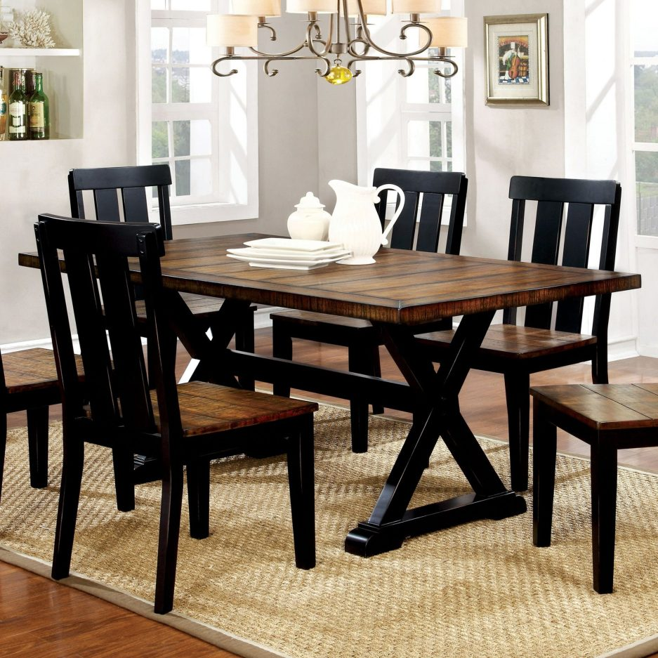 furniture of america lara farmhouse black solid wood dining table