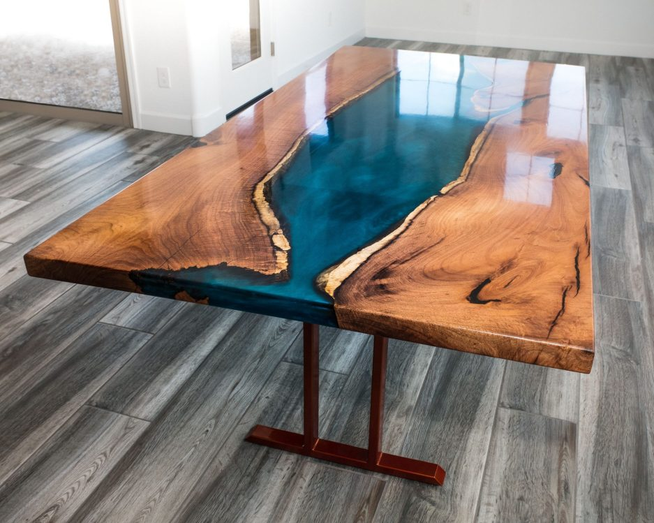 hand crafted mesquite resin river dining table lumberlust