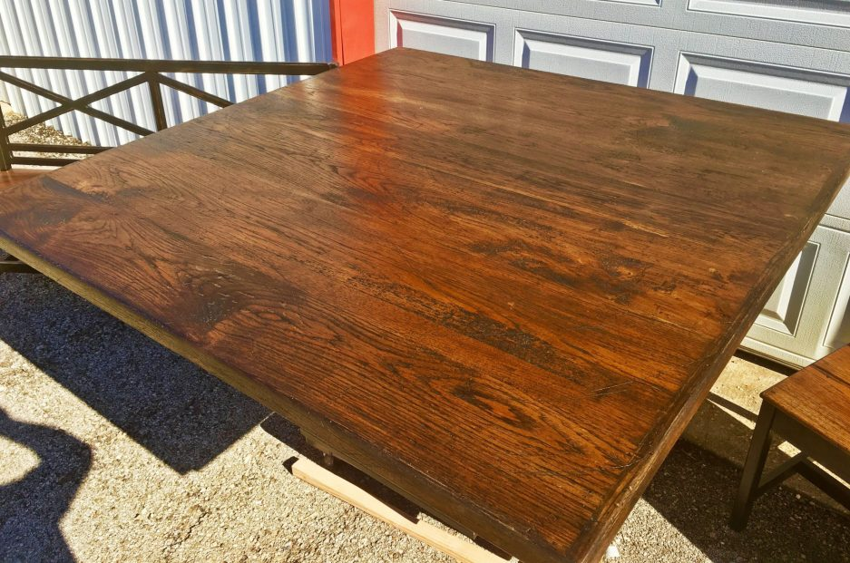 hand crafted square pedestal dining table longhorn