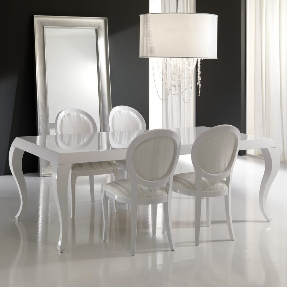 high gloss white lacquered dining table and chairs set