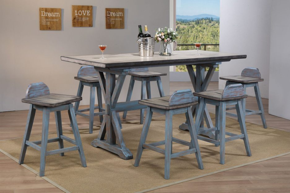 kris 7 piece counter height dining set distressed gray washed blue wood farmhouse 72 rectangular table 6 swivel bar stools walmart