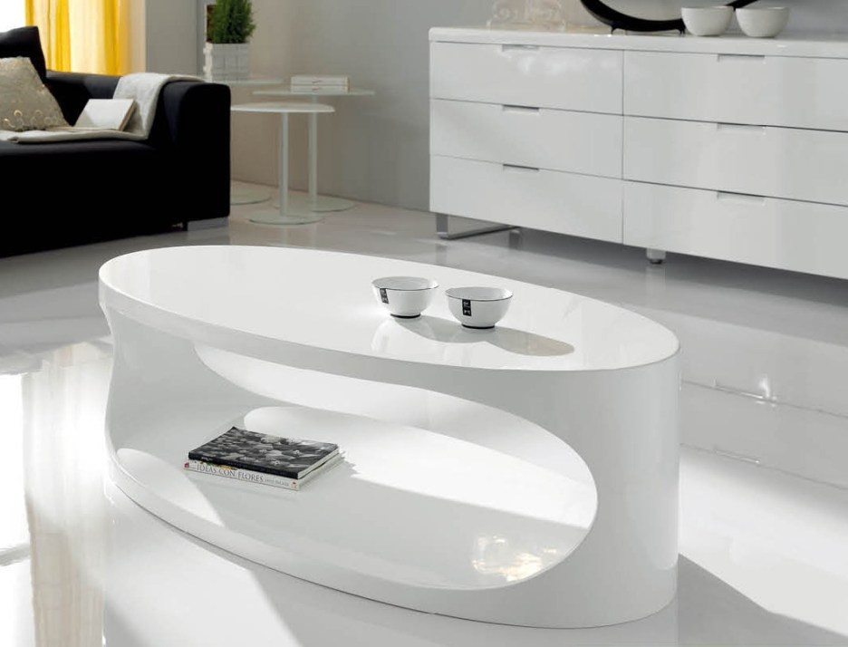 open storage white lacquered contemporary coffee table
