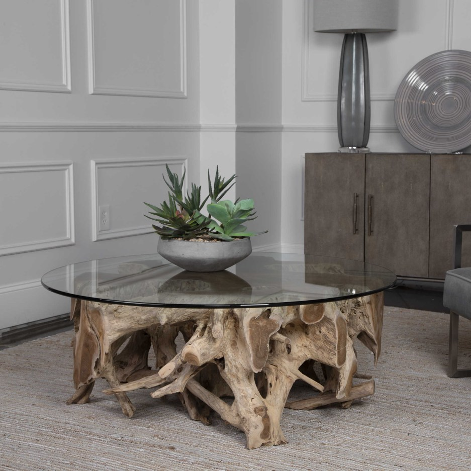 teak root coffee table round 2 cartons uttermost