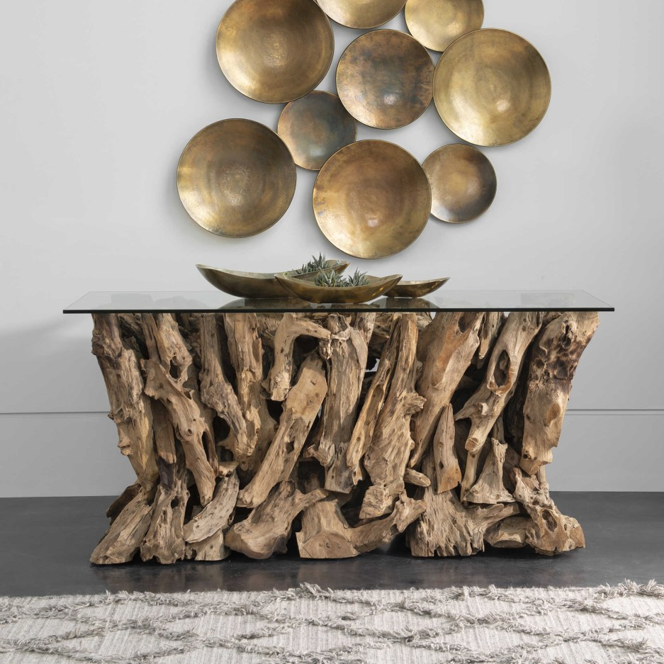 teak root console table 2 cartons uttermost