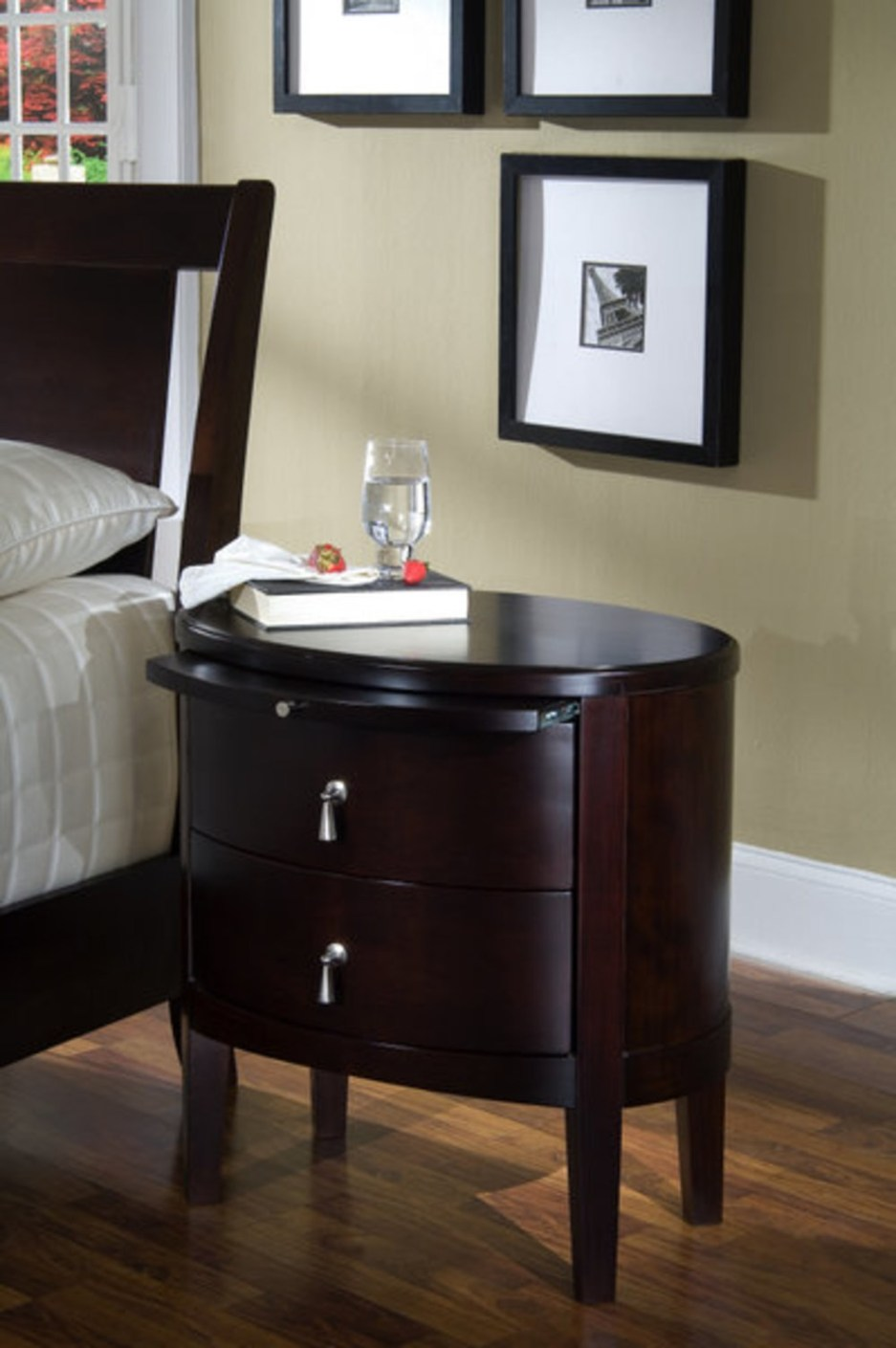 two drawer oval nightstand ligna furniture