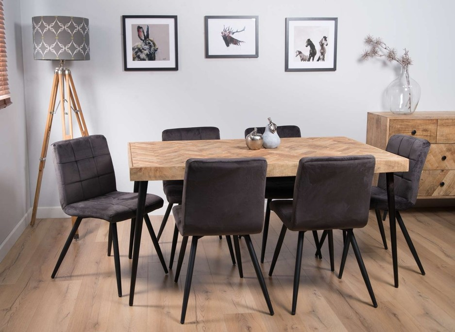 urban industrial mango 6 seater dining set capri grey chairs