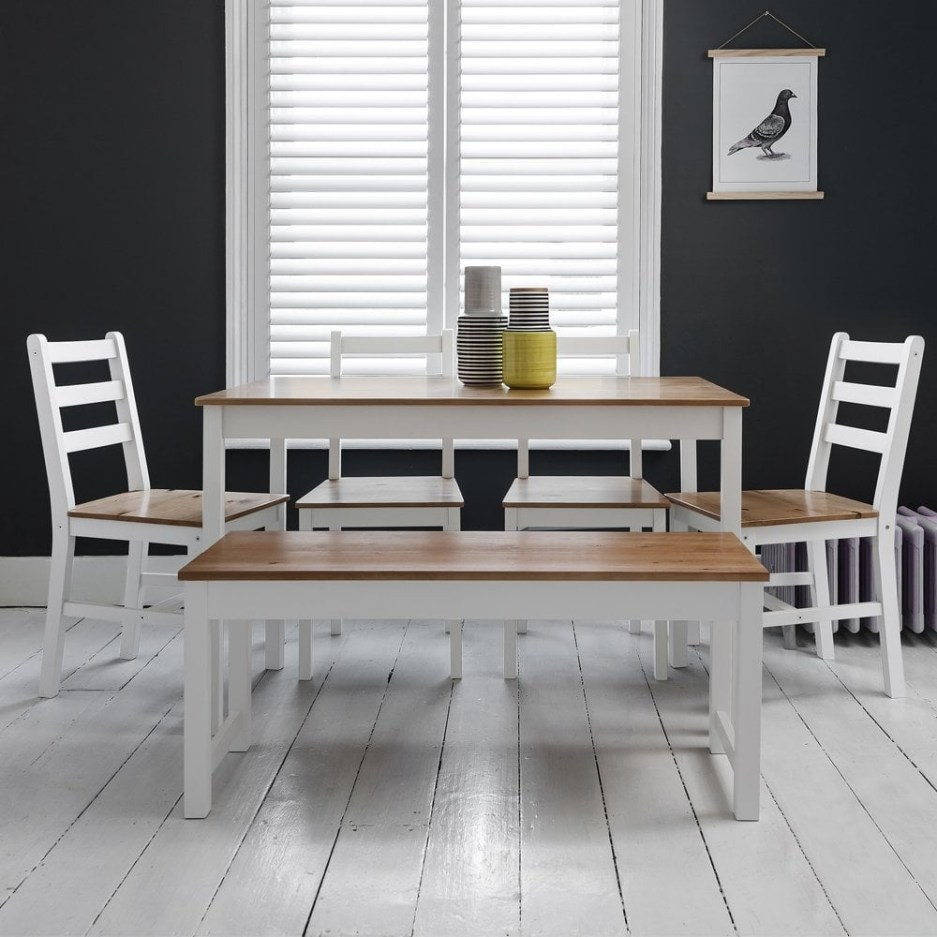 annika dining table w 4 chairs bench in white natural