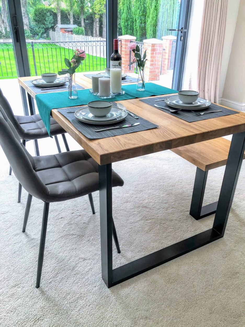 box industrial solid oak dining table pyt