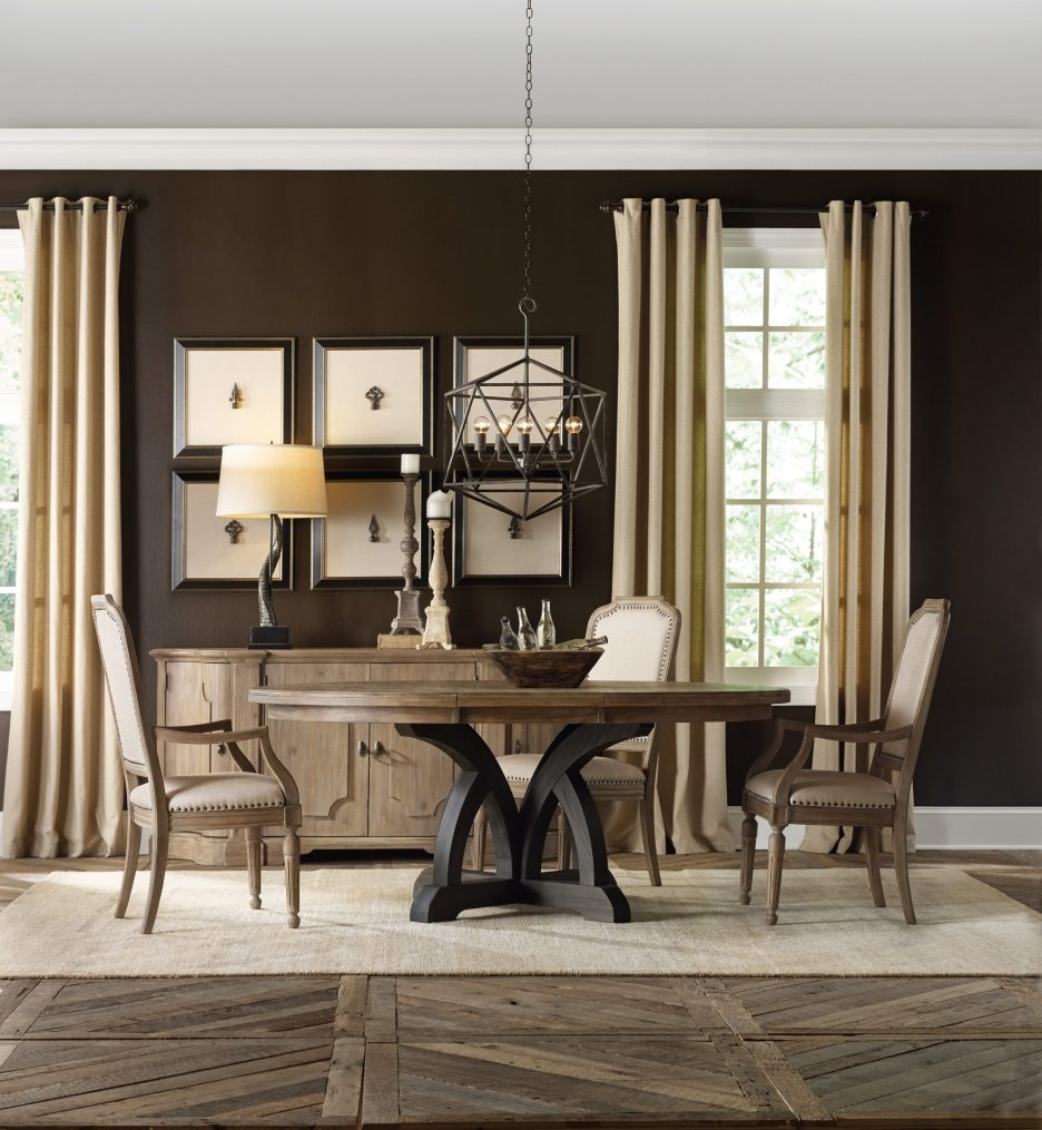 corsica dark round dining table dark baselight top