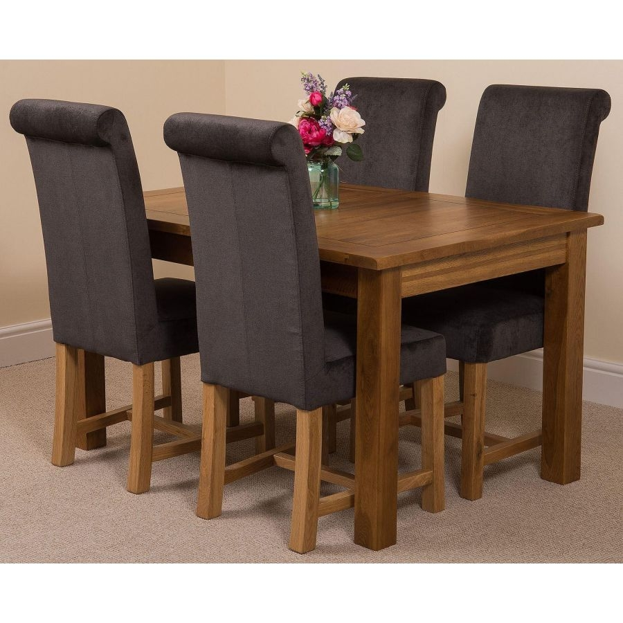 cotswold rustic oak extending dining table with 4 washington dark grey fabric chairs