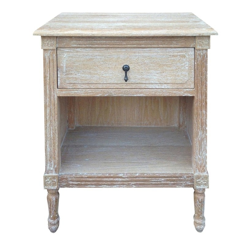 dover solid oak timber bedside table white washed oak