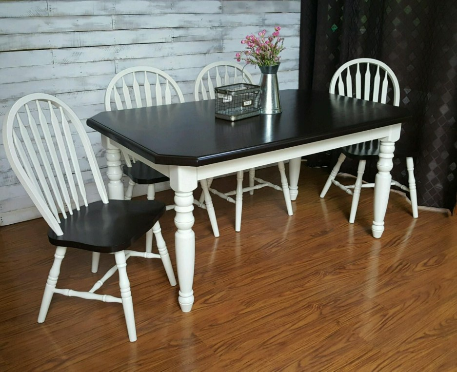 farmhouse table set in antique white java general