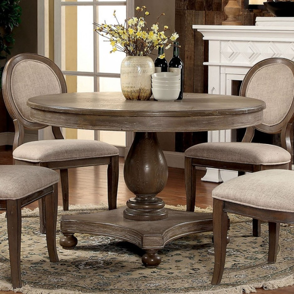 furniture of america kathryn round dining table in rustic dark oak