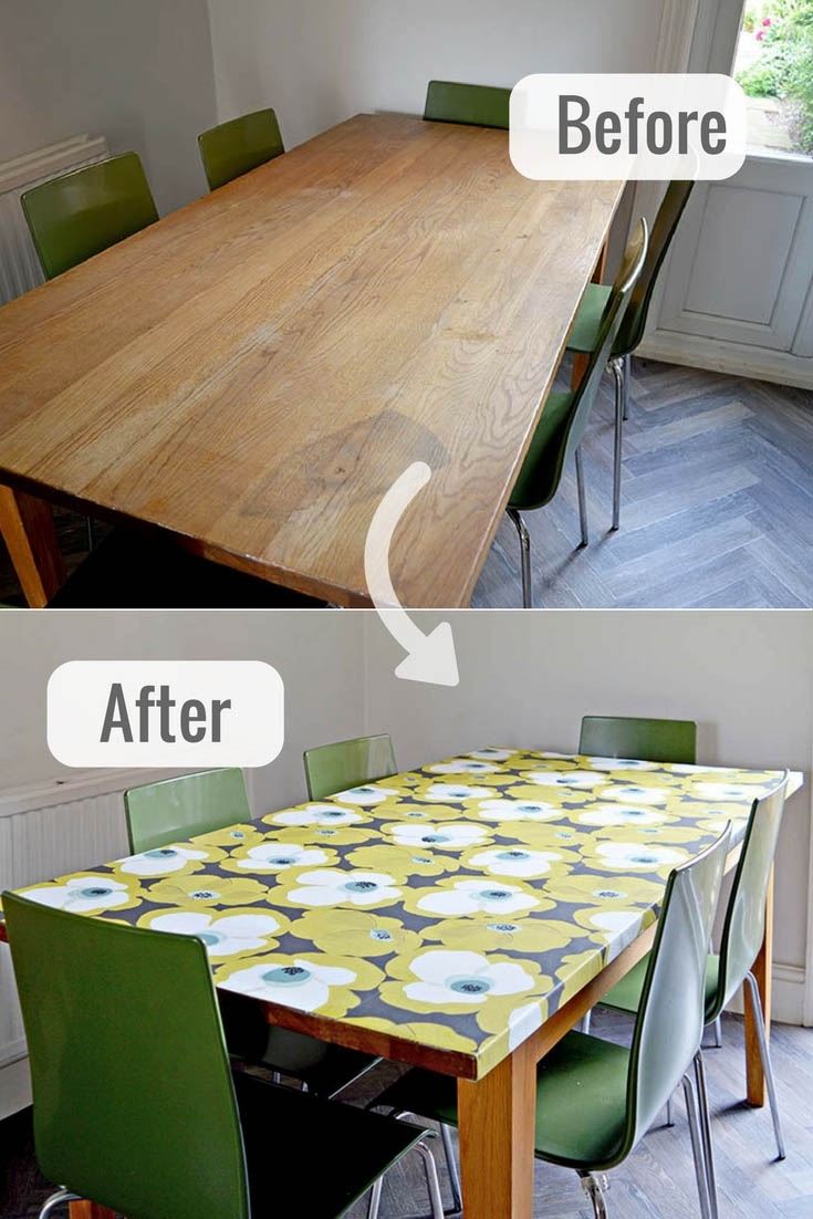 how to use wallpaper to decoupage a table top pillar box blue