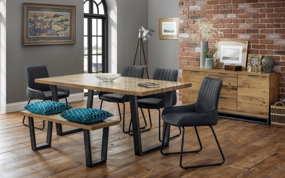 kendal solid oak industrial style dining table chairs