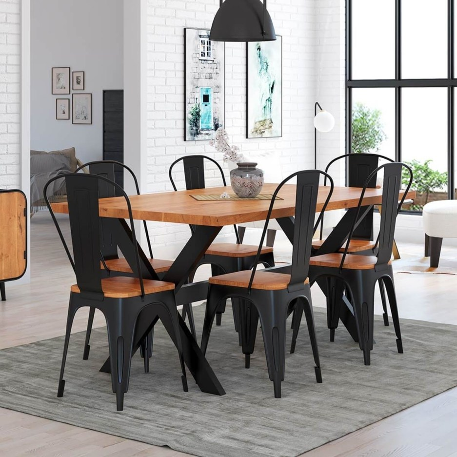 langley rustic solid wood industrial iron dining table and chair set