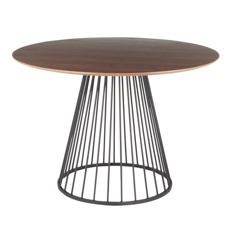 lumisource canary walnut and black round dining table dt canary2 bkwl the home depot
