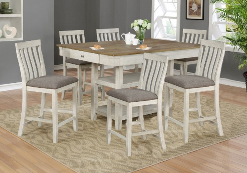 nina white counter height dining room table 7pc set