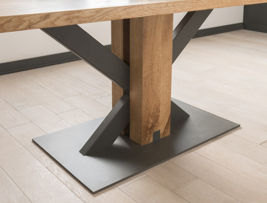 oak and metal dining table