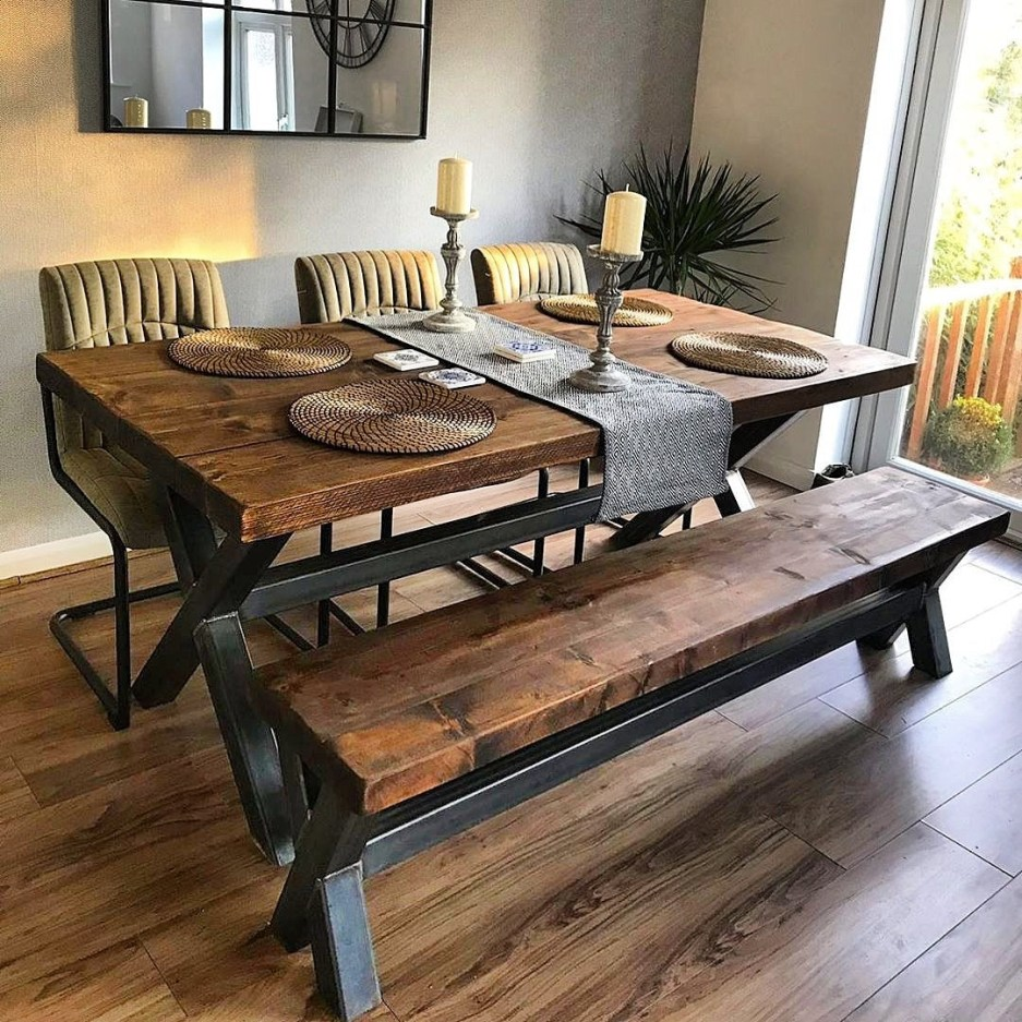 reclaimed industrial chic xx 6 8 seater solid wood steel dining table 653 rccfurniture