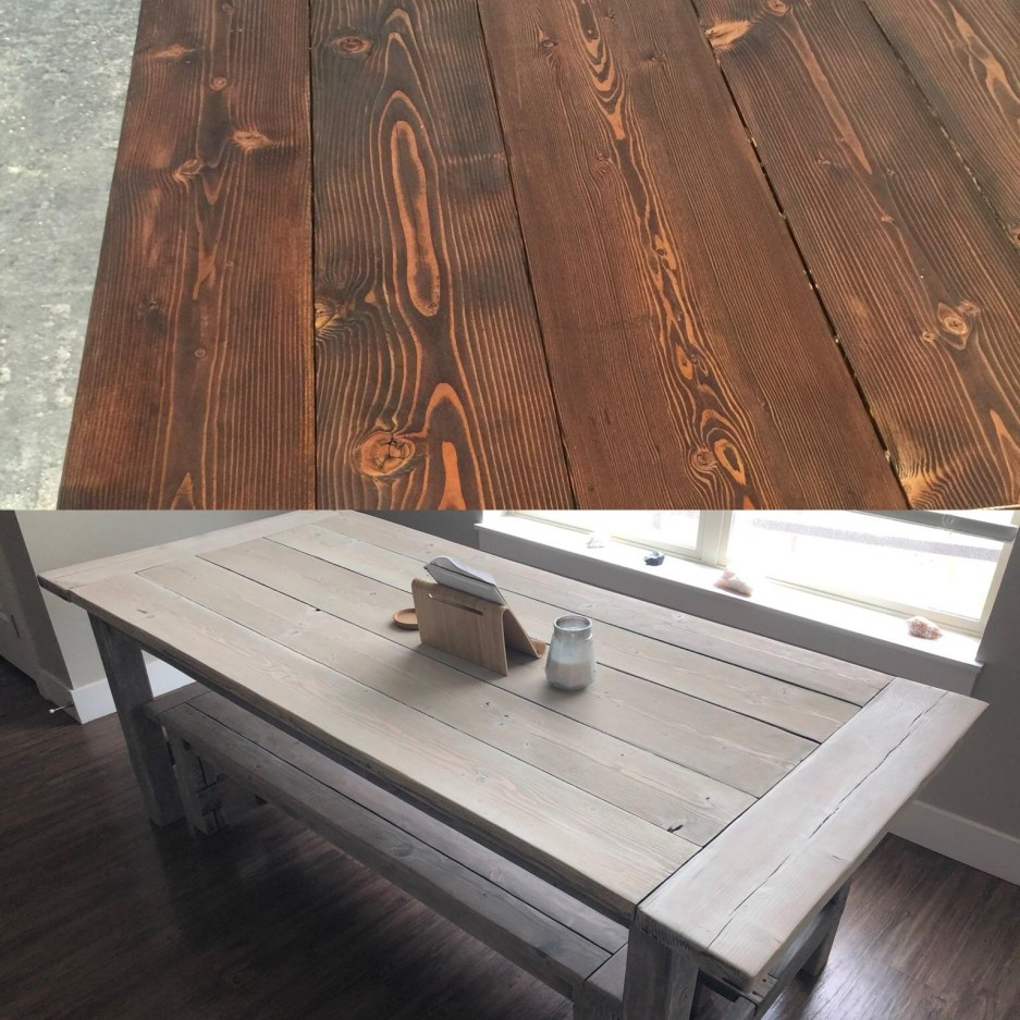 refinishedwhitewashed my farmhouse table i made a 2 years