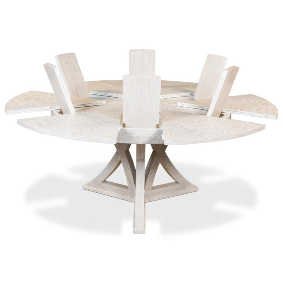 renee modern classic white wash oak round dining table