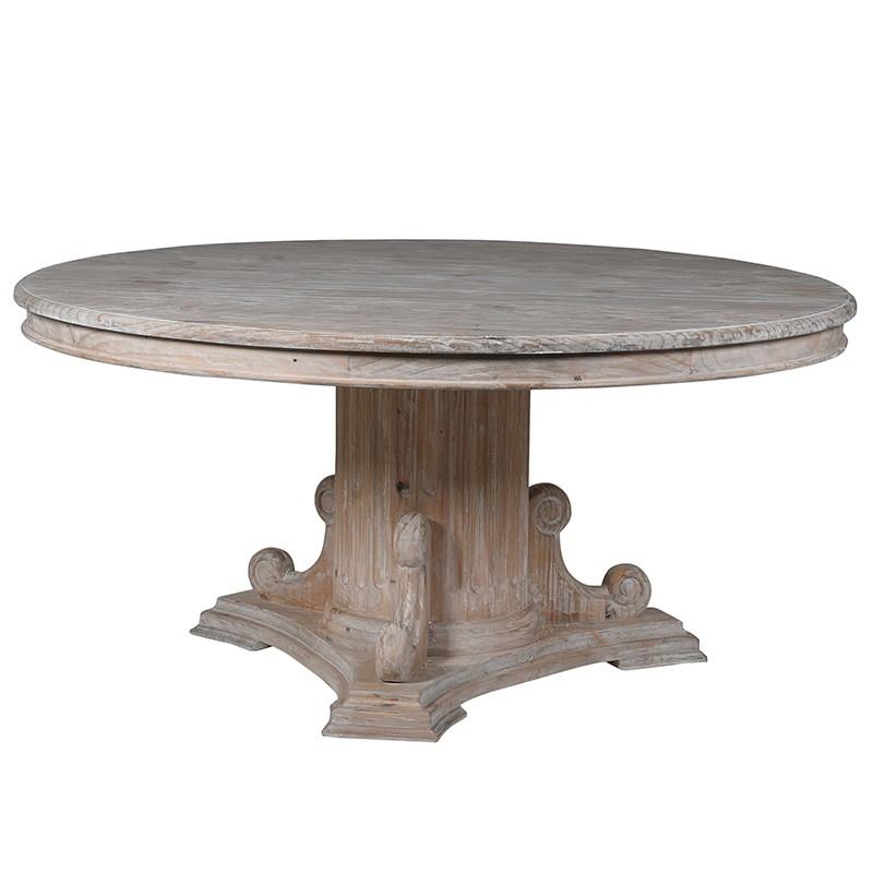 rustic white wash round large dining table furniture la