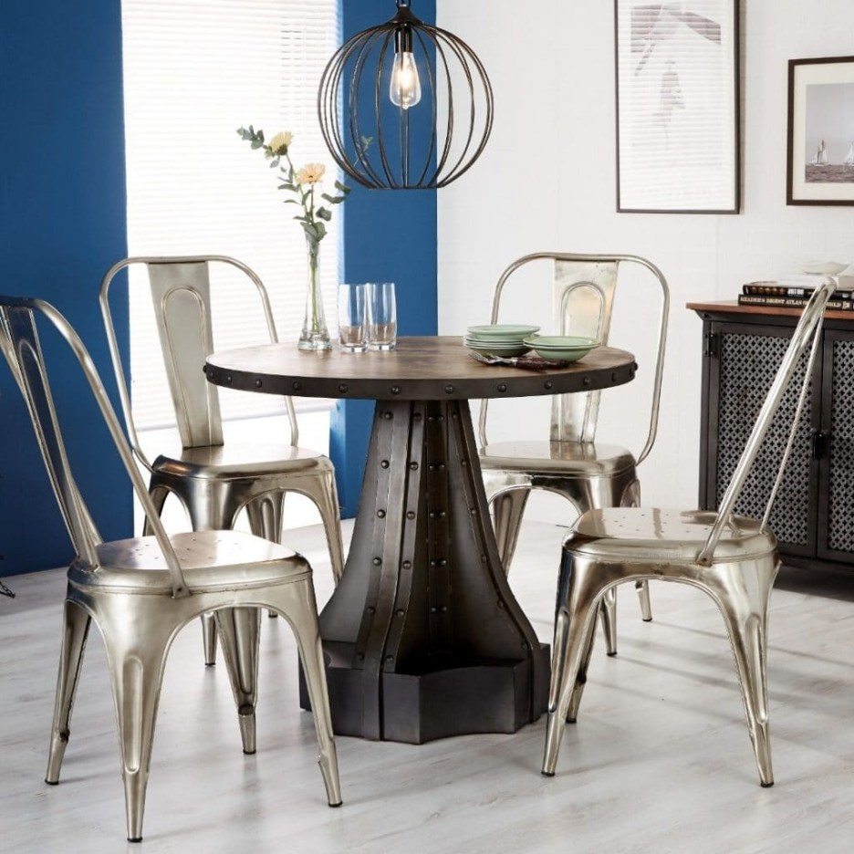 telford industrial round dining table