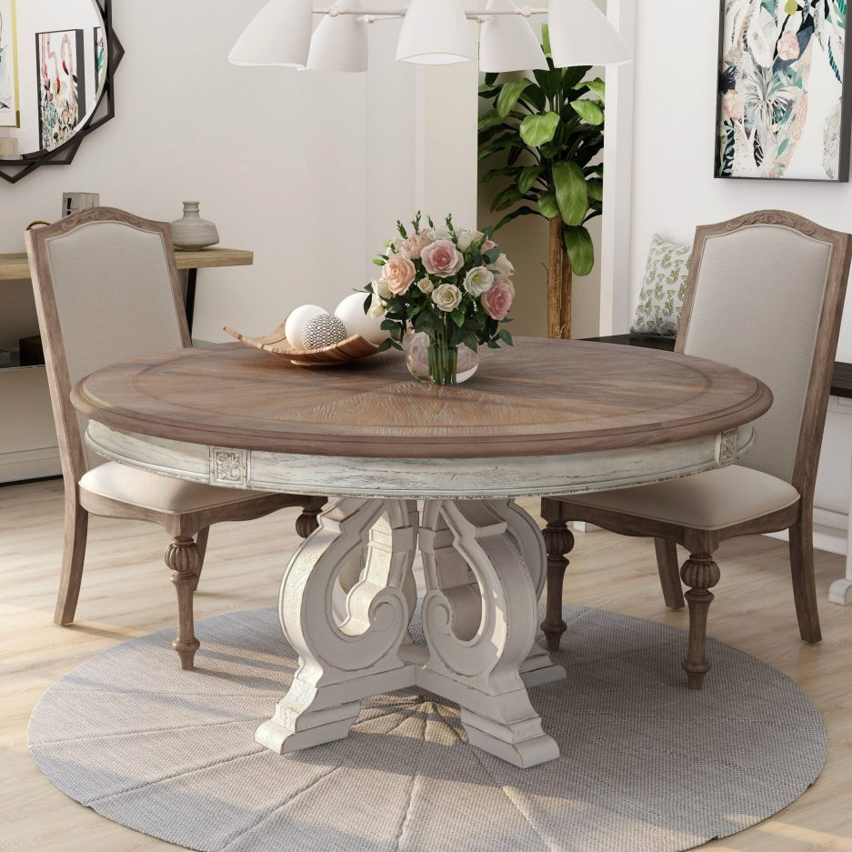 the gray barn caelum 60 inch antique white round dining table
