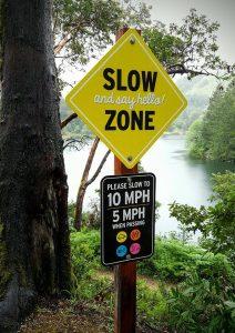 New Slow Zone Signage now at Lake Lagunitas
