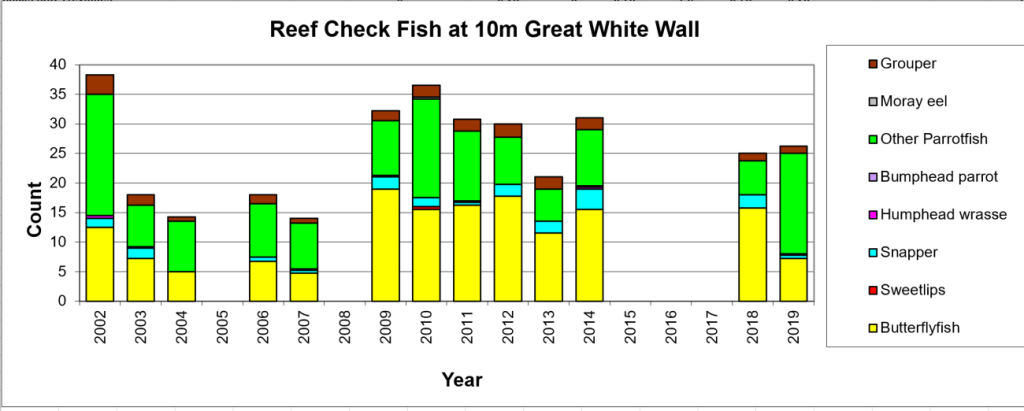 Figure 11:  Reef Check Fish 10m Great White Wall -  Taveuni - Rainbow Reef