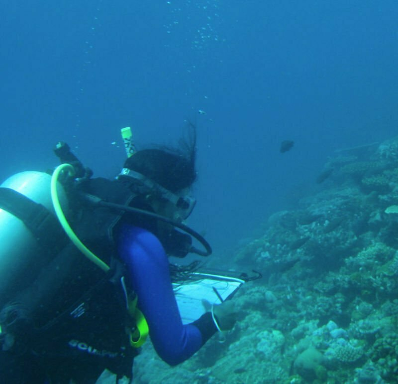 Tiarana Mitchell surveying for coral bleaching