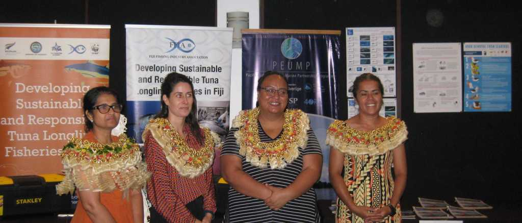 From left to right:  1. Ms. Radhika Kumar - President, Fiji Fishing Industry Association 2. Ms. Noa Sainz - European Union in the Pacific's PEUMP Project Manager 3. Ms. Emma Christopher - Development Programme Coordinator, New Zealand High Commission 4. Ms. Kelera Macedru - Fiji Bycatch & Integrated Ecosystem Management Country Coordinator, SPREP