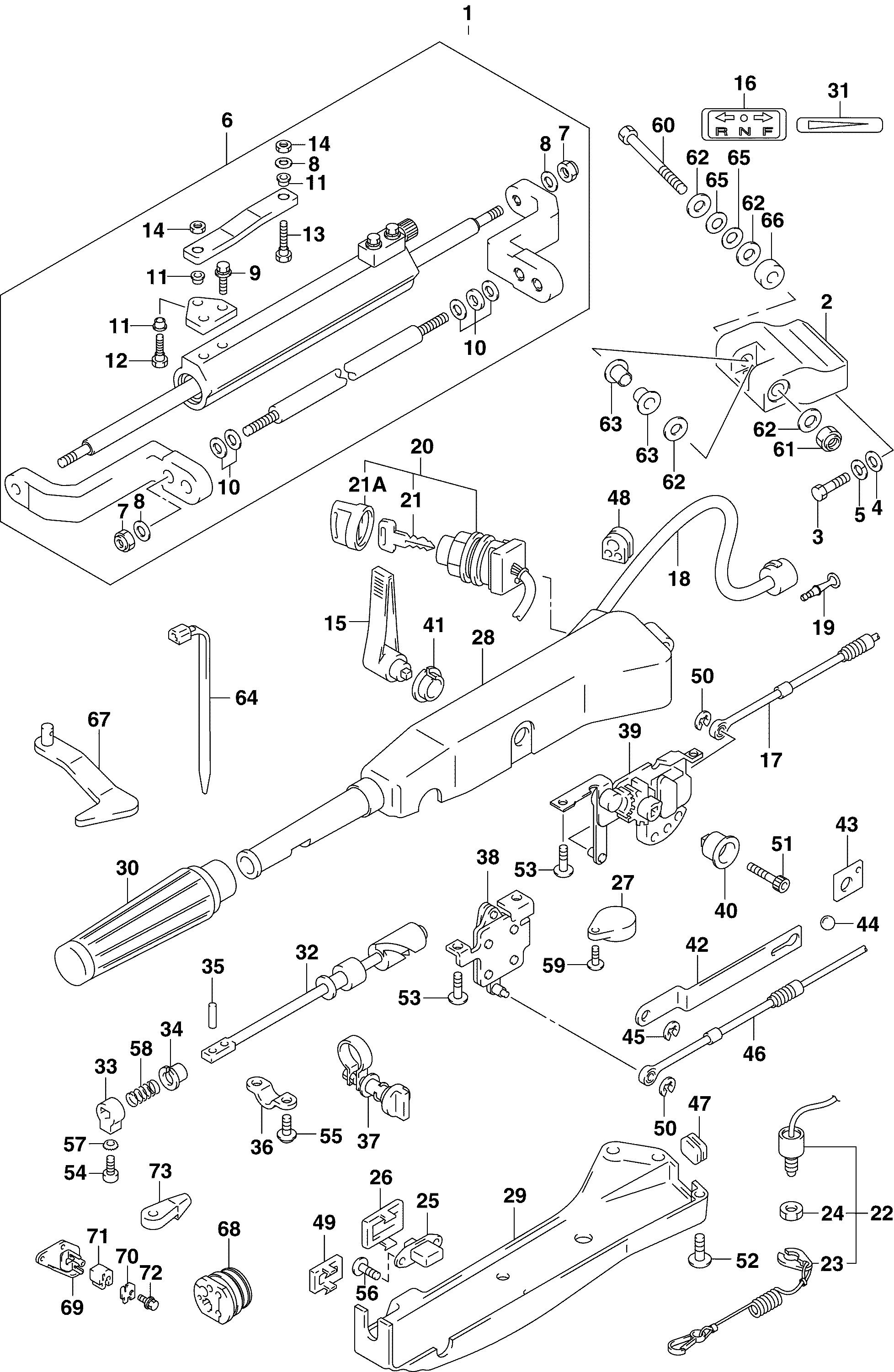 Tiller Handle Assembly 90 115hp 4 Stroke