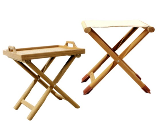 Folding teak stool