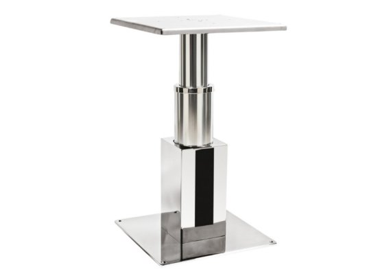 Table pedestal made in stainless steel and marine alloy with square section