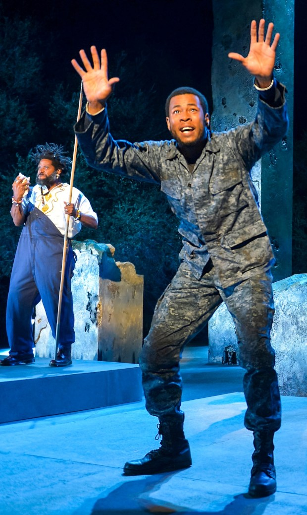 """J. Alphonse Nicholson performs in """"black odyssey,"""" which Cal Shakes is reprising as part of its 2018 season. (Kevin Berne/California Shakespeare Theater)"""