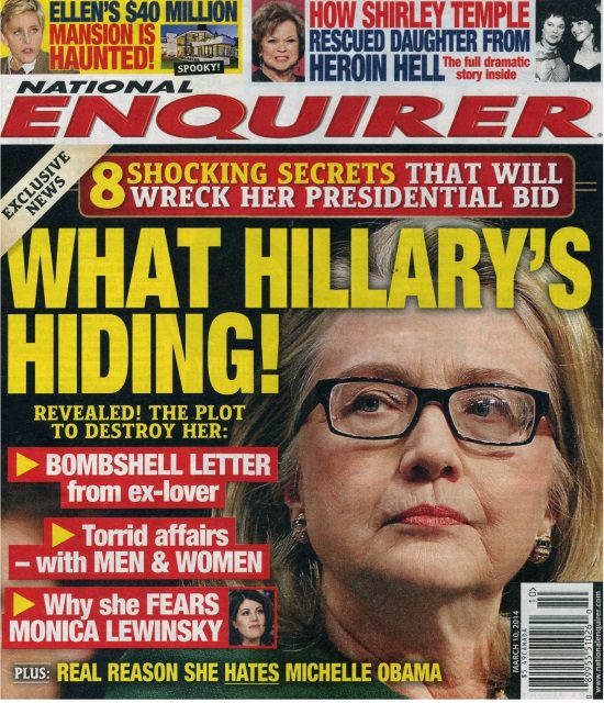 Image result for Hillary clinton nation enquirer