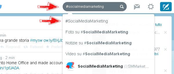"""1) Nel campo """"Cerca su Twitter"""" digita la parola o frase che ti interessa preceduta dal simbolo dell'hashtag """"#""""."""